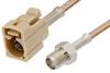 SMA Female to Beige FAKRA Jack Cable 24 Inch Length Using RG316 Coax -- PE39351I-24 -Image