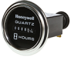 Honeywell Quartz Plus dc Hour Meter, round opening, Ø2.27 in stirrup with round chrome bezel, 0.25 bent blade termination, 10K hours, 30 Vdc to 110 Vdc operating voltage, faceplate: satin black w -- 85017 -Image