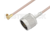 N Male to SSMC Plug Right Angle Cable 48 Inch Length Using RG316-DS Coax -- PE3C4478-48 -Image