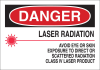 Brady B-555 Aluminum Rectangle White Laser Hazard Sign - 10 in Width x 7 in Height - 42837 -- 754476-42837