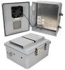 14x12x06 Polycarbonate Weatherproof Outdoor IP24 NEMA 3R Enclosure, 240 VAC Universal Outlet MNT PLT, Mechanical Thermostat Heat & Fan DKGY -- TEPC141206-EHF -Image