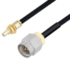 SMA Male to SSMC Jack Bulkhead Cable 60 Inch Length Using PE-SR405FLJ Coax -- PE3C4445-60 -Image