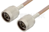 N Male to N Male Cable 12 Inch Length Using RG400 Coax, RoHS -- PE3653LF-12 -Image