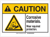 Brady B-302 Polyester Rectangle White Chemical, Biohazard, Hazardous & Flammable Material Sign - 10 in Width x 7 in Height - TEXT: CAUTION Corrosive Materials Wear Required Protection. - 144951 -- 754473-99732