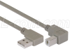 Right Angle USB Cable, Right Angle A Male/Down Angle B Male, 1.0m -- CA90RA-DB-1M