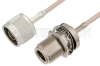 N Male to N Female Bulkhead Cable 24 Inch Length Using RG316-DS Coax, RoHS -- PE34198LF-24 -Image