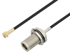 Snap-On MMBX Plug Right Angle to N Female Bulkhead Cable 6 Inch Length Using RG174 Coax -- PE3C4041-6 -- View Larger Image