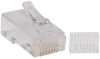 Cat6 RJ45 Modular Connector Plug with Load Bar, Solid/Stranded Conductor Round Cat6 Wire, 100-pack -- N230-100 - Image