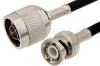 N Male to BNC Male Cable 60 Inch Length Using RG58 Coax, RoHS -- PE3042LF-60 -Image