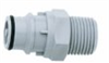 Quick-disconnect fittings, Valved Male pipe thread inserts, PP, 3/4