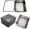 18x16x10 Polycarb Weatherproof NEMA 4X Encl, 240VAC Univ Outlet Mnt Plate Mech Therm Heat Clear Lid Black -- NBBWPC181610-EH0