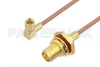 SMA Female Bulkhead to SSMC Plug Right Angle Cable 24 Inch Length Using RG178 Coax -- PE3C4465-24 -Image