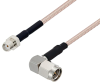 SMA Female to SMA Male Right Angle Cable 50 cm Length Using RG316-DS Coax with HeatShrink -- PE3W07377/HS-50CM -Image
