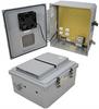 14x12x06 Polycarb Weatherproof NEMA 3R Encl, 120VAC Mnt Plt User Adjustable Therm Heat & Fan Drk Gry -- NBPC141206-1HFA2 -Image