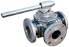 3-Way Flanged SS Ball Valve -- MS-3WF Series - Image