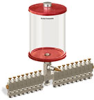 Red Color Key, Clear View Multiple Feed Manual Lubricator, 1/2 gal Pyrex Reservoir, 17 Feeds, 1/8