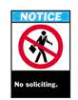 Brady ANSI Z535 Safety Signs: No Soliciting -- sf-19-038-219