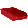 "23 5/8"" x 11 1/8"" x 4"" Red- Plastic Shelf Bin Boxes -- BINPS124R -- View Larger Image"