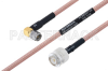 MIL-DTL-17 SMA Male Right Angle to TNC Male Cable 100 cm Length Using M17/60-RG142 Coax -- PE3M0027-100CM -Image