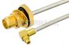 SMA Female Bulkhead to MMCX Plug Right Angle Semi-Flexible Precision Cable 24 Inch Length Using PE-SR405FL Coax, RoHS -- PE39422-24 -Image