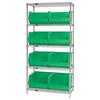 "36"" x 18"" x 74"" - 5 Shelf - Wire Shelving Unit with (8) Green Bins -- WSBQ270G -- View Larger Image"