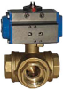 Pneumatic Actuated Ball Valve -- 8P0129/8P0131(T,L) 3-Way Brass
