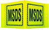 Brady Acrylic V Shape Yellow MSDS Sign - 15 in Width x 8 in Height - TEXT: MSDS - V2MS24A -- 754476-49420