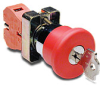Pushbutton, 22mm metal, key operated release, red 40mm mushroom ... -- GCX1141 - Image