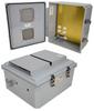 14x12x06 Polycarbonate Weatherproof Outdoor IP24 NEMA 3R Enclosure, 120 VAC MNT PLT Vented Lid DKGY -- TEPC141206-10V -Image