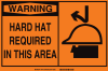 Brady Rectangle Orange Personal Protection Equipment (PPE) Sign - TEXT: HARD HAT REQUIRED - 46745 -- 754473-46745