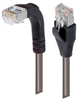 Shielded Category 6 Right Angle Patch Cable, Straight/Right Angle Down, Gray, 25.0 ft -- TRD695SRA1GRY-25 -Image
