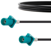 Water Blue FAKRA Plug to FAKRA Plug Cable 24 Inch Length Using RG174 Coax -- FMCA1351Z-24 -Image