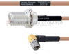 N Female Bulkhead to RA SMA Male MIL-DTL-17 Cable M17/128-RG400 Coax in 24 Inch -- FMHR0077-24 -Image