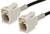 White FAKRA Jack to FAKRA Jack Cable 60 Inch Length Using PE-C100-LSZH Coax -- PE38746B-60 -Image
