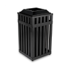 Avenue Open Top Waste Receptacle, Square, Steel, 16 gal, Bla -- MHSQ18PLBK
