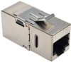 Cat6 Straight-Through Modular Shielded In-Line Snap-In Coupler with 90-Degree Down-Angled Port (RJ45 F/F) -- N235-001-SH-D