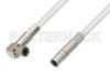 75 Ohm Mini SMB Plug to 75 Ohm Mini SMB Plug Right Angle Cable 60 Inch Length Using 75 Ohm PE-B159-WH White Coax -- PE38140/WH-60 -Image