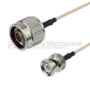 N Male to BNC Male Cable RG-316 Coax in 12 Inch -- FMC0108315-12 -Image