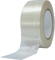 Fiberglass strand reinforced, film backed, rubber based pressure sensitive strapping tape