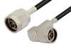 N Male to N Male Right Angle Cable 36 Inch Length Using RG58 Coax, RoHS -- PE3143LF-36 -- View Larger Image