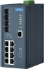 8GE PoE+4G SFP Managed Ethernet Switch, IEEE802.3af/at, 46~57VDC, -40~75? -- EKI-7712G-4FPI -Image