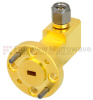 WR-12 to 1.0mm Male Waveguide to Coax Adapter UG-387/U Round Cover Standard with 60 GHz to 90 GHz E Band in Aluminum, Gold -- SMW12AC001-VM - Image