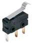 ZM Series, Subminiature Basic Switch, SPDT, 125 Vac/30 Vdc, 0.1 A, Simulated Roller Lever Actuator, Long Solder Termination -- ZM10B70E01