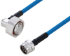 Plenum 7/16 DIN Male Right Angle to N Male Low PIM Cable 150 cm Length Using SPP-250-LLPL Coax Using Times Microwave Parts -- PE3C6198-150CM -Image