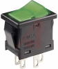 Switch, Lighted POWER Rocker, DPST, ON-NONE-OFF, CLEAR Rocker W/GREEN DIFFUSER -- 70192006