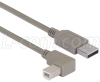 Right Angle USB Cable, Straight A Male / Right Angle B Male, 5.0m -- CAA-90RB-5M