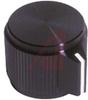 Knob, pointer, machined aluminum, black, SH: .125, .50 inch dia, .63 inch ht -- 70206964