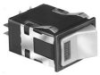 AML36 Series Rocker Switch, DPST, 2 position, Silver Contacts, 0.187 in x 0.02 in (Solder or Quick-Connect) With Integral Lamp Circuit, 1 Lamp Circuit, Rectangle, Snap-in Panel -- AML36FBP7AC01 - Image