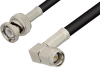 SMA Male Right Angle to BNC Male Cable 6 Inch Length Using RG58 Coax -- PE3850-6 -Image