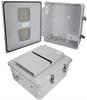 14x12x06 Polycarbonate Weatherproof NEMA 3R Enclosure, Modified Base Vented Lid Dark Gray -- NBPC141206-03V -Image